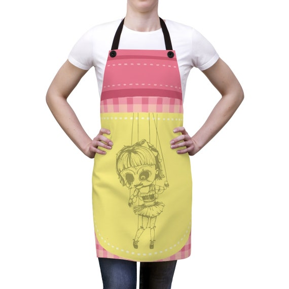 Creepy Doll, Cookout Apron, Vintage Inspired Burlesque Show Marionette Puppet