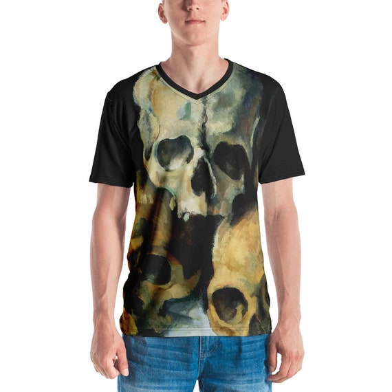 Pyramid Of Skulls v2, Unisex T-shirt With Black Sleeves & Collar, Vintage Painting, Cezanne, 1900