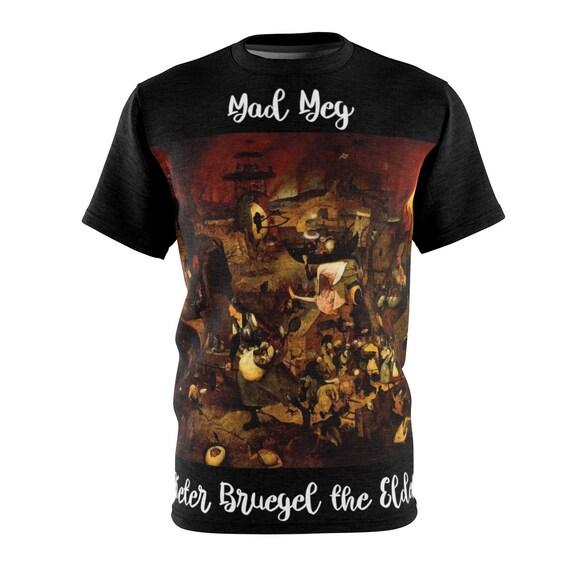Mad Meg Pillager Of Hell, Black Unisex T-shirt, Surreal, Pieter Bruegel the Elder, 1563