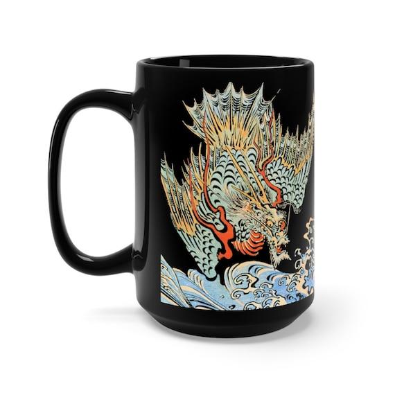 Japanese Sea Dragon, 15oz Black Ceramic Mugs, Japanese Mythology, Sea Serpent, Sea Monster, Coffee, Tea