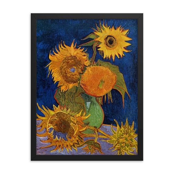 "Six Sunflowers, 18"" x 24"" Framed Giclée Poster, Black Wood Frame, Acrylic Covering, Vincent Van Gogh, Room Decor"