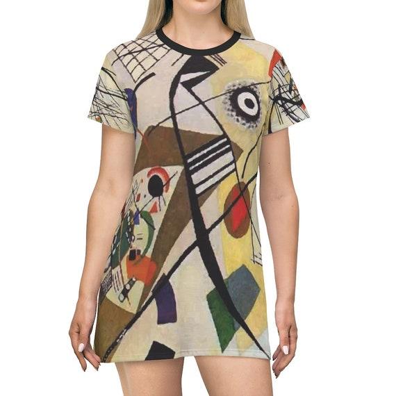 Transverse Line, T-shirt Dress, Long Flared Top, Long T-shirt, Comfy Sleep Shirt, Abstract Painting, Wassily Kandinsky, AOP