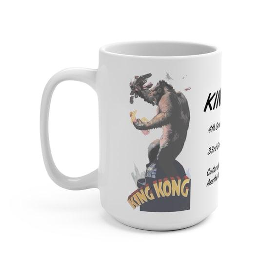 King Kong, White 15oz Ceramic Mug, Vintage 1933 Movie Poster