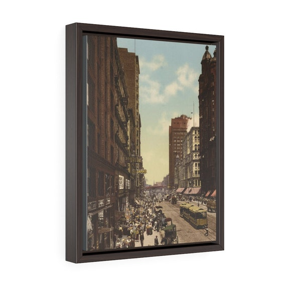 """State Street in Chicago, 12""""x16"""" Framed Gallery Wrap Canvas, Antique Postcard Circa 1900, Illinois, Americana, Room Decor"""