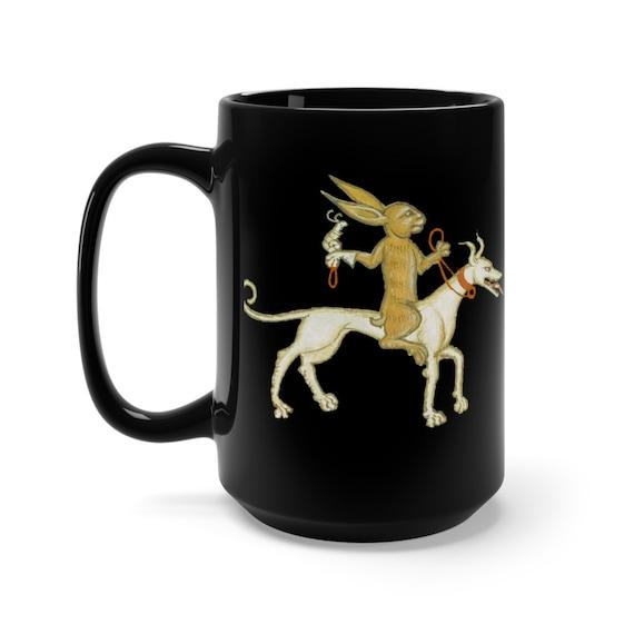 Medieval Rabbit With Pet Snail Black 15oz Ceramic Mug, From Medieval Manuscript, Marginalia, Coffee, Tea