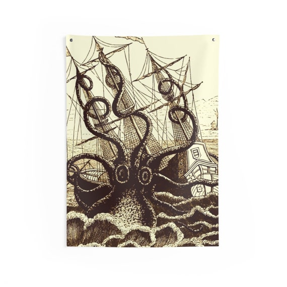 Kraken Attacks Ship, Indoor Wall Tapestry, Vintage, Antique Illustration, Pierre Denys de Montfort, 1801, Wall Decor, Room Decor