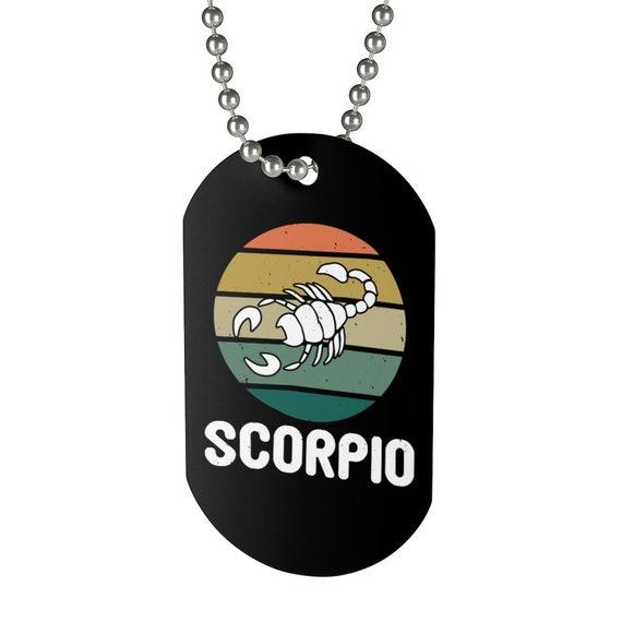 Scorpio, Aluminum Dog Tag, Retro Vintage Style, Zodiac Sign, Astrology Gift, Necklace, Keychain