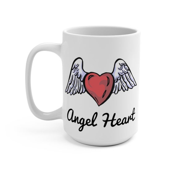 Angel Heart, White 15oz Ceramic Mug, Valentine's Day Gift, Birthday, Anniversary