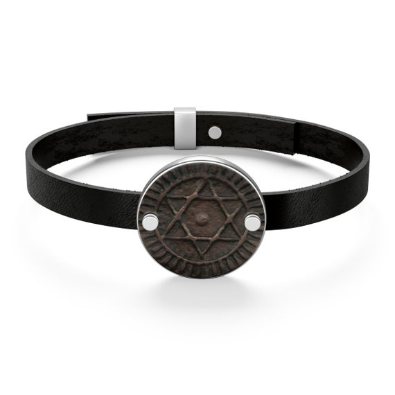 Seal Of Solomon Talisman, Sterling Silver Leather Bracelet, Image Of Antique Moroccan Bronze Coin