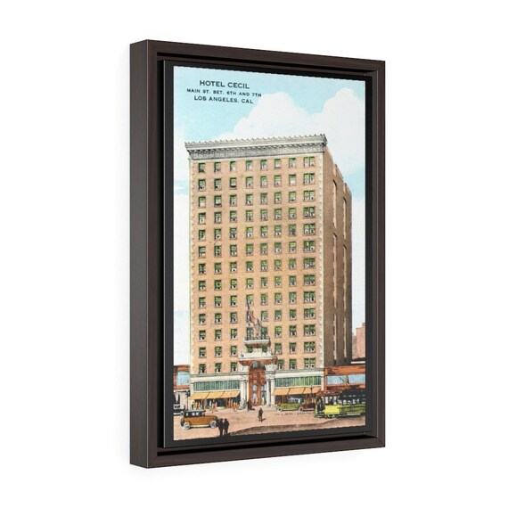 "Horror Hotel Cecil, 18""x12"" Framed Gallery Wrap Canvas, From An Antique Postcard Circa 1930, Americana"