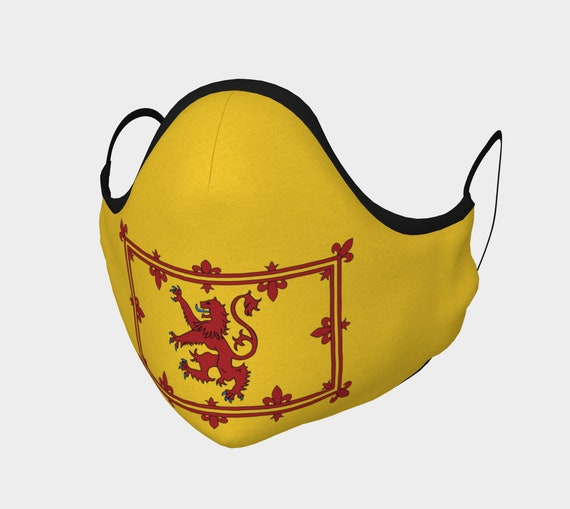 Lion Rampant of Scotland, Face Mask, 7 Sizes, Filter Pocket, Filters, 100% Cotton, Scottish Pride