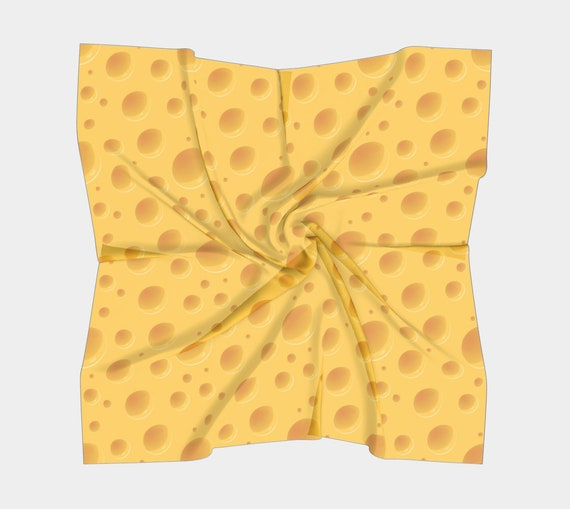 Cheese Square Scarf, Silk, 4 Sizes, Green Bay Packers Fan, Great Gift For Your Favorite Cheesehead