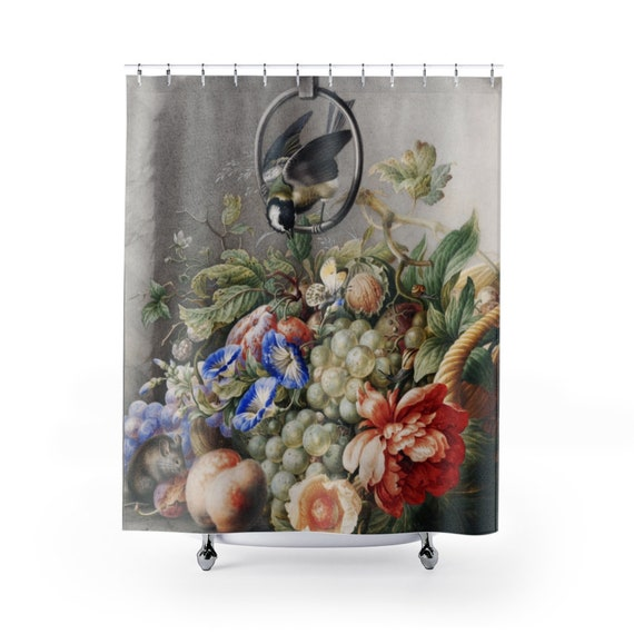 Flowers And Fruits Shower Curtain, 18th Century Still Life