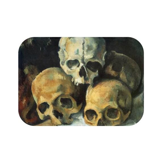 Pyramid Of Skulls, Anti-Slip Mat, Bath, Kitchen, Workshop, Vintage Painting, Cezanne, 1900