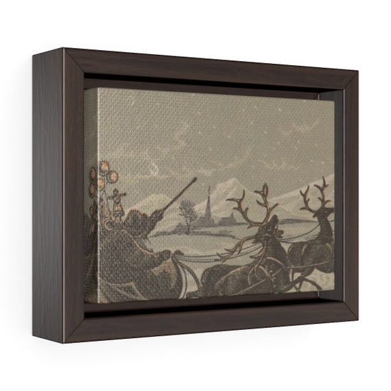 Framed Wrapped Canvas With Image Of Vintage Wood Engraving Of Santa And His Reindeer From An Antique Postcard Circa 1880 To 1890