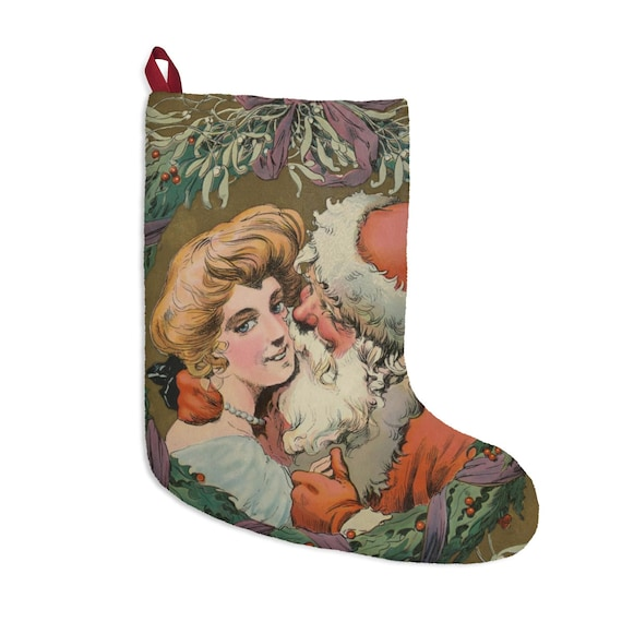 Santa And Mother Under The Mistletoe, Christmas Stocking, Vintage Drawing, Antique Postcard Circa 1905, XMAS Gift