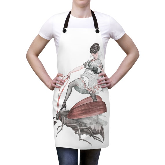 Flying High, Cookout Apron, Vintage Jazz Age Illustration, Woman Riding Flying Insect