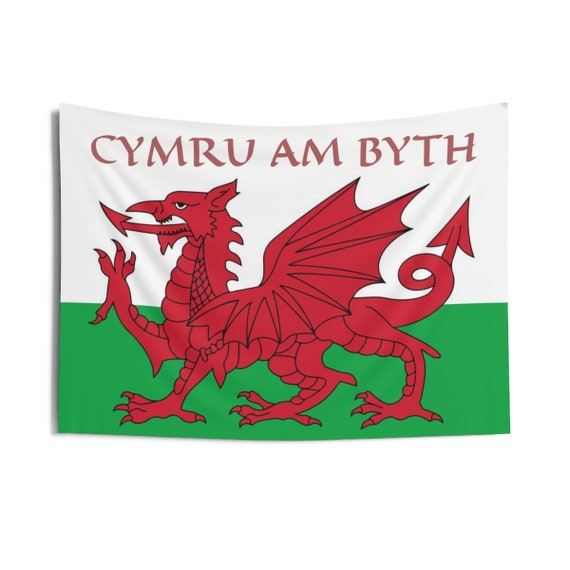 "Cymru Am Byth, 36""x26"" Indoor Wall Tapestry, Red Dragon, Flag Of Wales, Welsh Motto, Welsh Pride, Wall Decor, Room Decor"