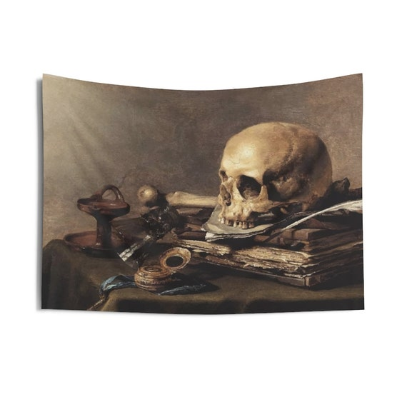 "Skull Looking Left, 36""x26"" Indoor Wall Tapestry, Vanitas Still Life"