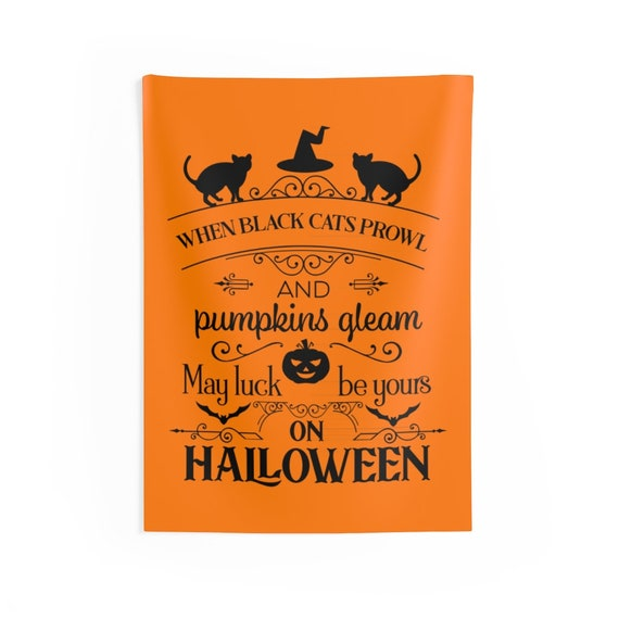 When Black Cats Prowl, Indoor Wall Tapestry, Halloween Sign, Bats, Jack-O-Lantern, Wall Decor, Room Decor