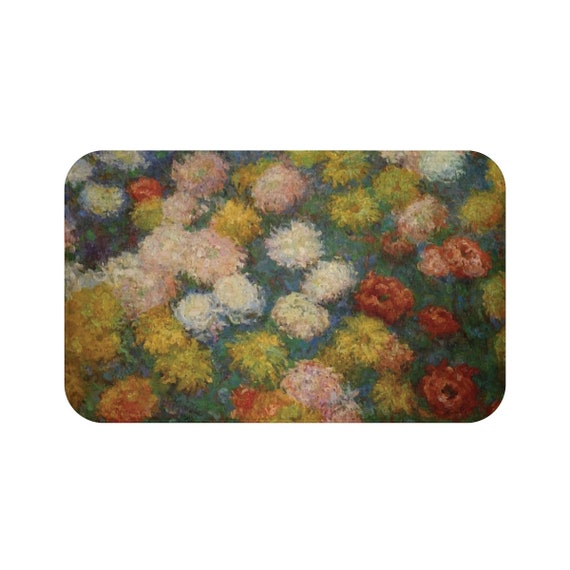 Chrysanthemums, Microfiber Bath Mat, Vintage Painting, Monet, Circa 1880