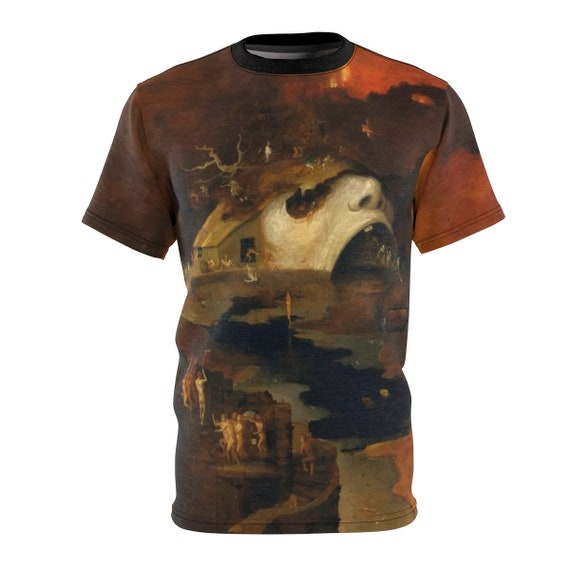 Descent Into Hell, Unisex T-shirt, Painting By Follower Of Hieronymus Bosch, Circa 1550