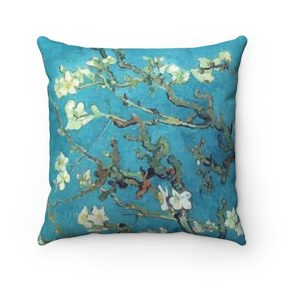 Almond Blossoms, Spun Polyester Square Pillow, Vintage Painting, Van Gogh 1890