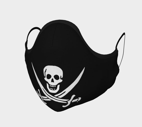 Jolly Roger, Face Mask, 7 Sizes, Filter Pocket, Filters, 100% Cotton, Free Worldwide Shipping, Historical Pirate Flag Of Calico Jack