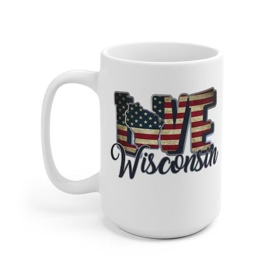 I Love Wisconsin, Large White Ceramic Mug, Vintage Retro Flag, Patriotic, Patriotism, United States, Coffee, Tea