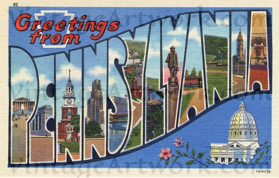 Greetings From Pennsylvania Postcard Front, Digital Download, Curt Teich & Co. Publisher,  1937