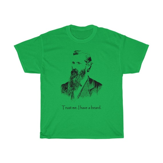 Trust Me I Have A Beard, Unisex Heavy Cotton Tee, Vintage Inspired Illustration Of A Bearded Man