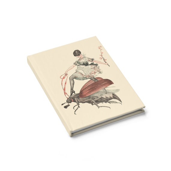 Flying High, Hardcover Journal, Ruled Line, Vintage Jazz Age Illustration, Woman Riding Flying Insect