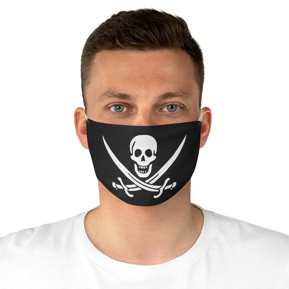 Skull & Crossed Cutlasses, Cloth Face Mask, Washable, Reusable, Pirate Flag, Jolly Roger, Calico Jack