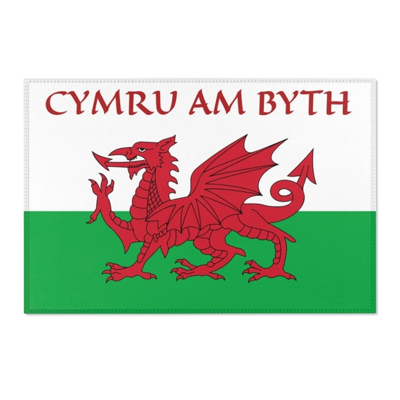 Cymru Am Byth, 2'x3' Door Mat & 4'x6' Area Rug Sizes, Red Dragon, Flag Of Wales, Welsh Motto, Welsh Pride