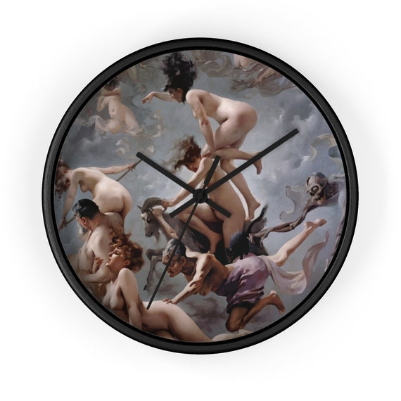 "Witches Going To Their Sabbath, 10"" Wall Clock, Vintage Painting, Luis Ricardo Falero, 1878"