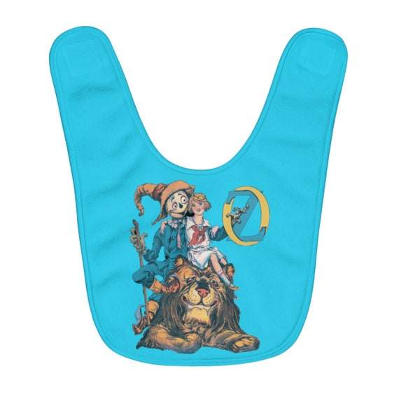 Dorothy, The Scarecrow & The Cowardly Lion, Fleece Baby Bib, Blue, Wizard Of Oz