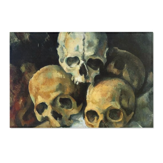 Pyramid Of Skulls, 2'x3' Door Mat & 4'x6' Area Rug Sizes, Vintage Painting, Cezanne, 1900