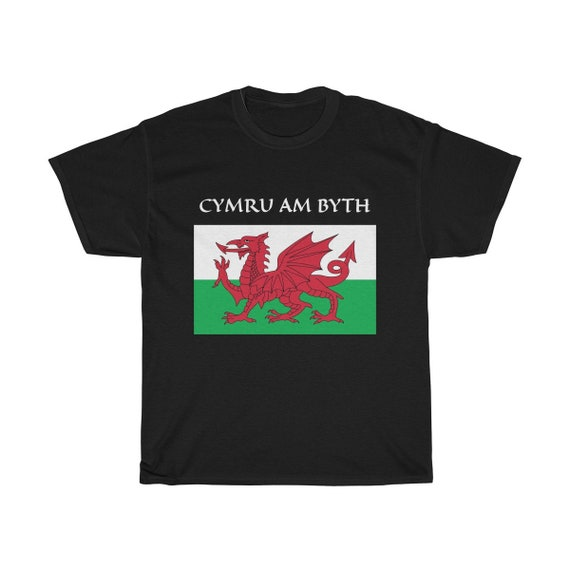 Cymru Am Byth, Unisex Heavy Cotton T-shirt, 8 Colors, Red Dragon, Flag Of Wales, Welsh Motto, Welsh Pride