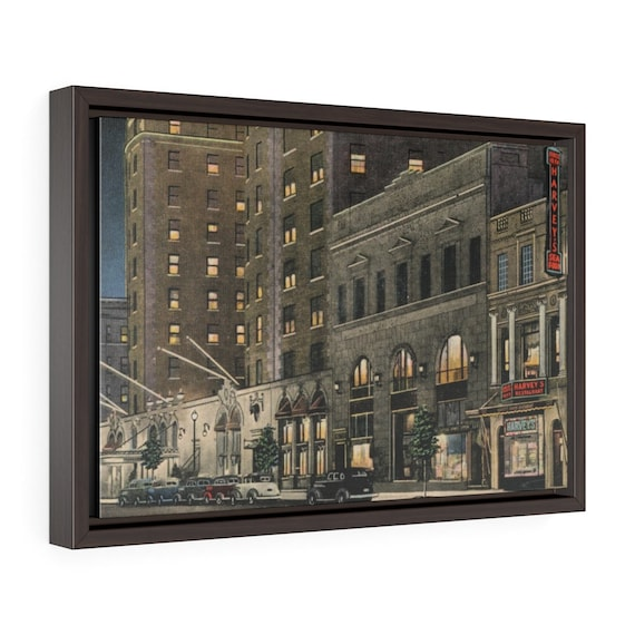 "Harvey's Famous Restaurant In Washington DC, 18""x12"" Framed Gallery Wrap Canvas, From An Antique Postcard Circa 1935, Room Decor"