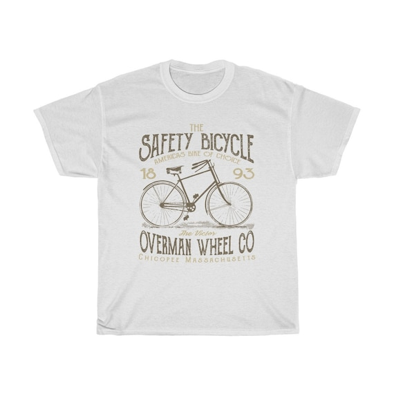 The Safety Bicycle 1893 - Unisex Heavy Cotton Tee With Vintage Inspired Image Of An Old Bicycle.