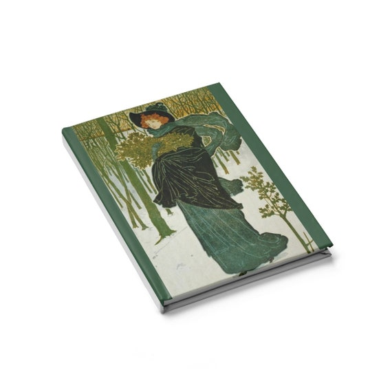 The Green Lady, Hardcover Journal, Blank Page, Vintage, Antique Illustration, Circa 1895