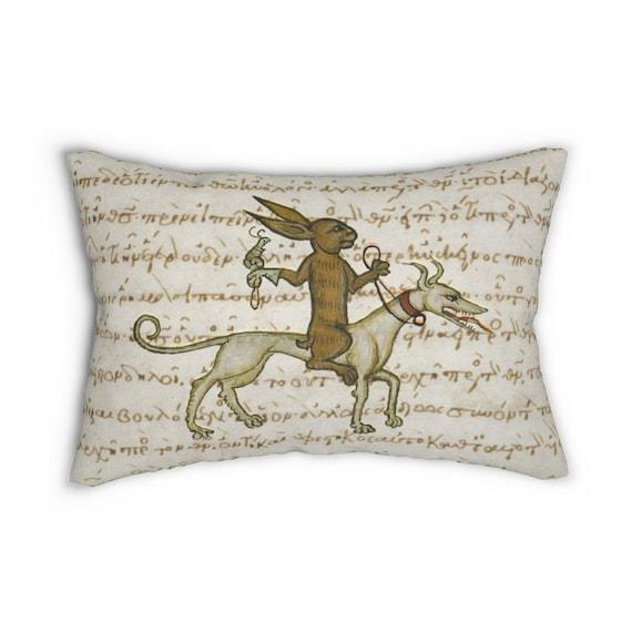 Medieval Rabbit With Pet Snail Lumbar Pillow, From Medieval Manuscript, Marginalia