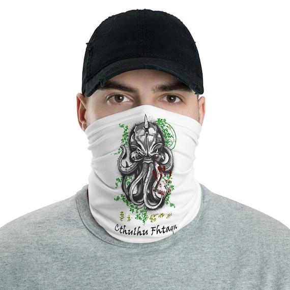 Cthulhu Fhtagn, Neck Gaiter, Vintage Inspired H.P. Lovecraft Design, Headband, Bandana, Cosmic Horror