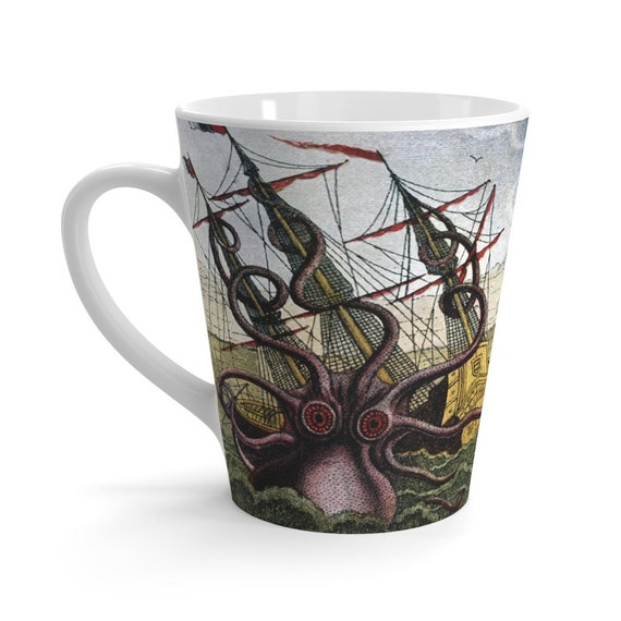 Kraken Attacks! 12oz Ceramic Latte Mug, Octopus, Giant Squid, Sea Monster, Leviathan, Vintage