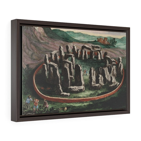 "17th Century Stonehenge, 18""x12"" Framed Gallery Wrap Canvas, From Joan Blaeu's Atlas Maior"