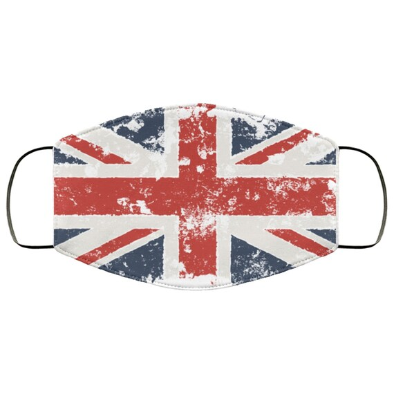 Grunge Union Jack, Large Face Mask, Breathable, Washable, Reusable, United Kingdom Flag, UK