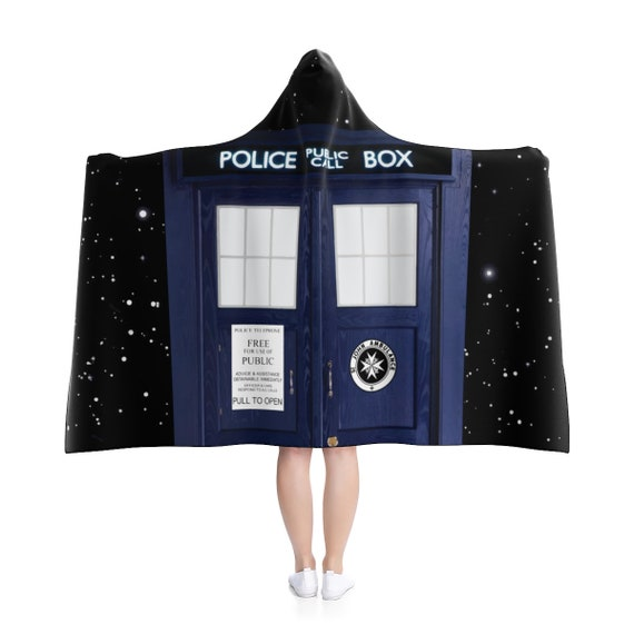 "TARDIS In Space, 80""x56"" Hooded Blanket, Inspired by BBC TV Show Doctor Who"