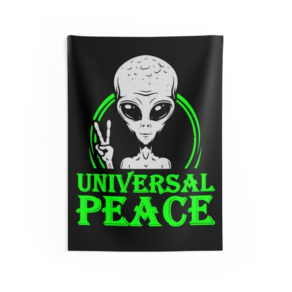 """Universal Peace 26""""x36"""" Indoor Wall Tapestry, Gray Alien Peace Sign, Anti-war, Activism, Unity, Room Decor"""