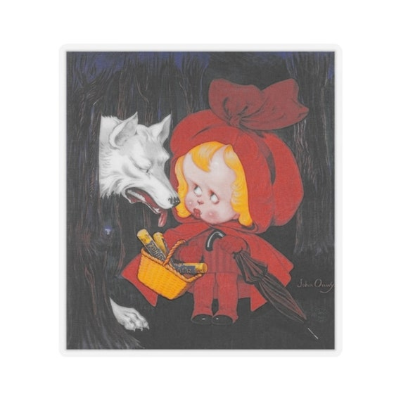 Little Red Riding Hood - Kiss-Cut Stickers (Qty:5) With An Image From An Antique Vintage Advertisement for Kohler Chocolate, Circa 1910.
