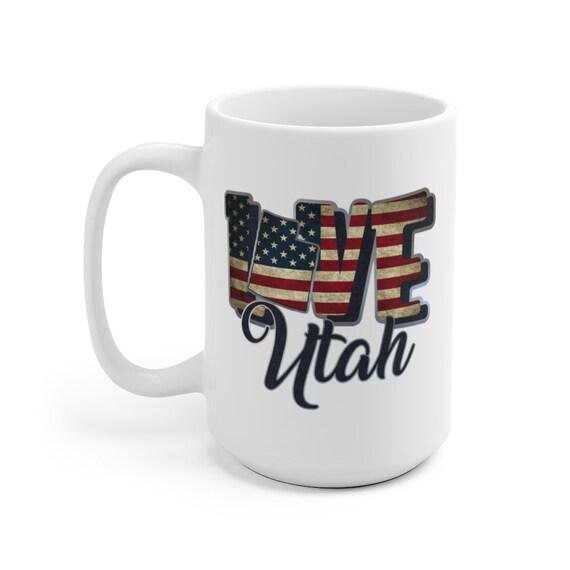 I Love Utah, Large White Ceramic Mug, Vintage Retro Flag, Patriotic, Patriotism, United States, Coffee, Tea